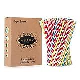MELLIEX 200PCS Pajitas de Papel biodegradables Pajitas de Papel de Colores Pajitas...