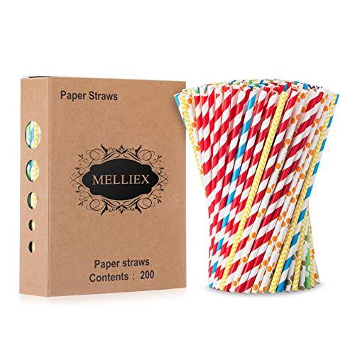 MELLIEX 200PCS Pajitas de Papel biodegradables Pajitas de Papel de Colores Pajitas Desechables para cumpleaños, Bodas, Fiestas navideñas, Celebraciones