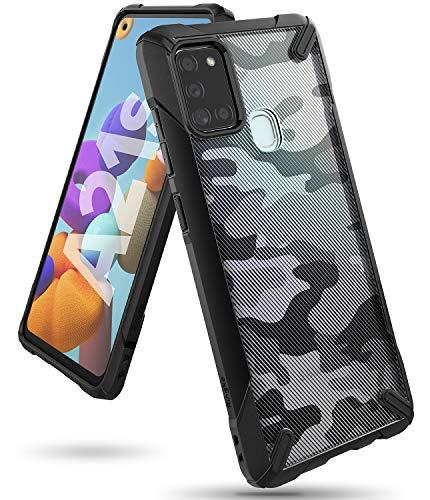 Ringke Fusion-X Diseñado para Funda Samsung Galaxy A21s (2020), TPU + PC Carcasa Galaxy A21s, Parachoque Resistente Impactos Funda para Galaxy A21s (6.5 Pulgadas) - Camo Black