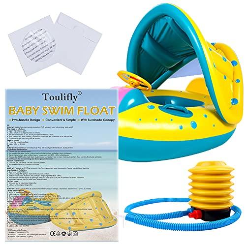 Schwimmring Baby Schwimmsitz Kinder Schwimmreifen Spielzeug, Baby Schwimmhilfe Schwimmen Boot, Schwimmsitz Baby mit Sonnenschutz Dach Schwimmreifen Baby im Inneren Hai Schwimmring für Kinder