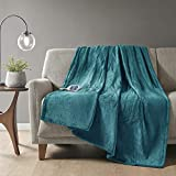 Beautyrest Plush Electric Blanket Throw for Cold Weather Multi-Level Heat Settings Controller, Secure Comfort Low EMF Technology and Auto Shut Off Safety, 60x70, Teal