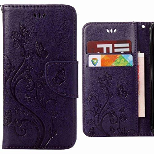 Ougger Handyhülle für Asus Zenfone Go ZB500KL Hülle Tasche, Schmetterling BriefHülle Tasche Schale Schutzhülle PU Leder Weich Magnetisch Silikon Flip Cover mit Kartenslot (Lila)