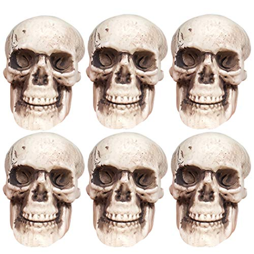 Coxeer Halloween Skeletons, 6PCS Plastic Realistic Fake Simulation Human Skull Head Bone Model Halloween Prop Realistic Mini Skeleton Spooky Halloween Decoration Party Supplies