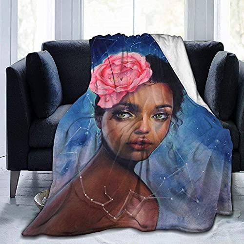 Mantas súper suaves para niña africana con flores de noche estrellada, mantas de cama en la sala de estar y dormitorio, tapices en habitaciones compartidas, 152 x 127 cm
