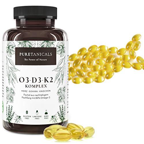 Omega 3 + Vitamina D3 + K2 MK7 All-Trans - Premium O3-D3-K2 Complejo Alta Dosis | Aceite de Pescado con Ácidos Grasos Esenciales EPA DHA | Óleo Omega3 Líquido | 240 Cápsulas de Gel Blando