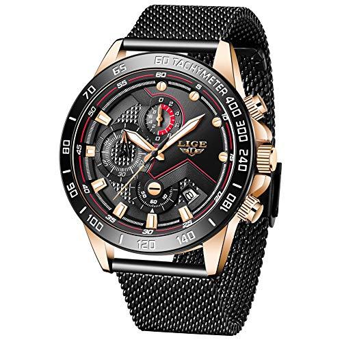 LIGE Herren Uhren Luxus wasserdichte Edelstahl Analoge Quarz Armbanduhr Männer Schwarz Herren Sport Militäruhr Chronograph mit Milanaise-Armband