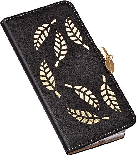 QPOLLY Kompatibel mit Xiaomi Mi 5X/A1 Hülle Glitzer Blatt Motiv Glänzend Klappbar Leder Handy Tasche Magnet Brieftasche Schutzhüllen für Xiaomi Mi 5X/A1,Schwarz