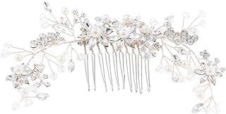 gazechimp クリスタルヘアコーム 髪の櫛 ヘッドピース 葉の形 花嫁 女の子 ドレス 写真小物 3仕様 - 17 x 7 cm