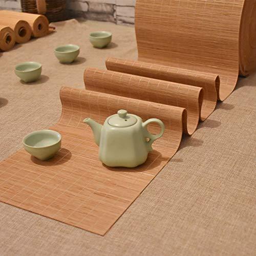 Camino De Mesa De Bambú De Estilo Japonés, Mantel Tejido A Mano, Manteles Individuales Antideslizantes para Mesa De Centro De Cocina para El Hogar, Color De Madera Natural(Size:30×80cm)