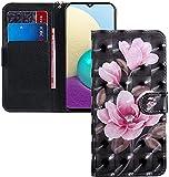 COTDINFOR Huawei Y6 2019 Hülle 3D-Effekt Painted cool Schutzhülle Flip Bookcase Handy Tasche Schale mit Magnet Standfunktion Etui für Huawei Y6 Pro 2019 / Honor Play 8A Pink Flower Black BX.