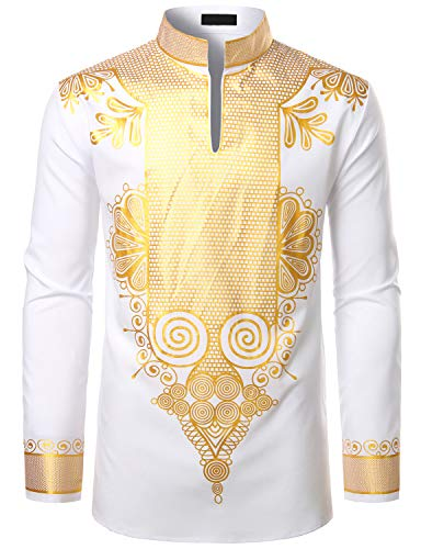 LucMatton Men's African Dashiki Luxury Metallic Gold Printed Mandarin Collar Shirt White Medium