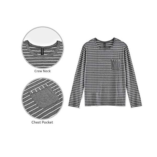 80 Manufacturing Men's Pajama Set Long Sleeve Sleepwear Striped Grey Cotton Casual Loungewear