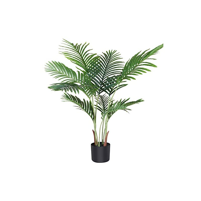 silk flower arrangements fopamtri artificial areca palm plant 3.6 feet fake palm tree with 10 trunks faux tree for indoor outdoor modern decor feaux dypsis lutescens plants in pot for home office perfect housewarming gift