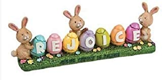 Bunny Rejoice Easter Egg Centerpiece Inspirational Tabletop Holiday Decoration