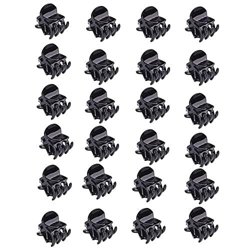 Mini-Haarspangen,24 Stück Damen Haarklammern Kunststoff-Haarklammern Haarspangen Kunststoff Orchidee Clips für Mädchen Frauen ,1.5 cm Schwarz.