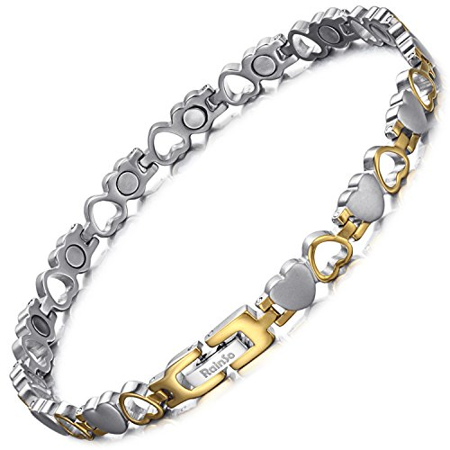 RainSo Womens Titanium Heart Design Magnetic Health Therapy Anklets Pain Relief Adjustable