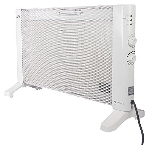 Tecvance TV-8385 Stufa Elettrica Portatile a Basso Consumo, Radiatore in Mica, Riscaldamento Elettrico con Termostato e 3 Livelli di Calore 500 W, 1000 W, 1500 W