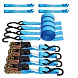 Premium Ratchet Tie Down Straps Anchoring Cambuckle - 15 FT 1500 Lbs Breaking Strength 500 Load Capacity w/ 4 Soft Loops for Tightening Appliances Cargo Motorcycle Truck Kayak etc.