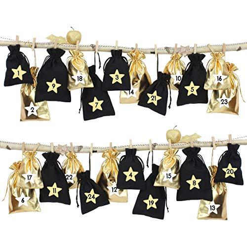 24 Sacchetti di Tessuto Calendario dell'avvento da riempire - con cordicella del fornaio e Le staffe di Legno - per l'auto Decorazione - Monocromatico
