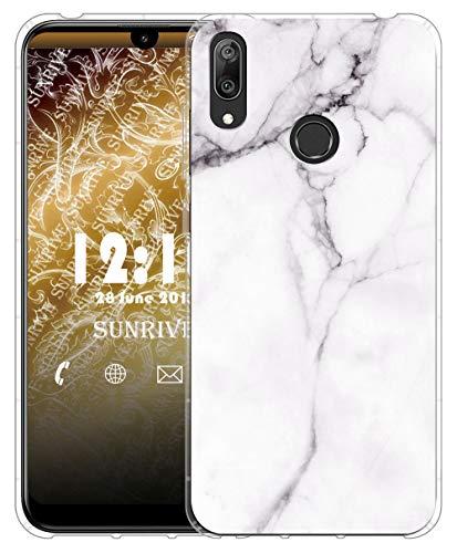 Sunrive Für Huawei Y7 2019 Hülle Silikon, Transparent Handyhülle Luftkissen Schutzhülle Etui Hülle für Huawei Y7 2019(TPU Marmor Weißer)+Gratis Universal Eingabestift MEHRWEG