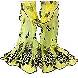 Señoras Bufandas Mujeres Pavo Real Floral Encaje Mantón Bordado Largo Suave Fiesta Estilo Abrigo Mantón Abrigo Mantón Niña (Color : E, Size : One Size)