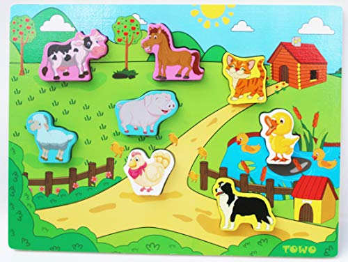 TOWO Wooden Animal Puzzles - Shinnington Farm Animals Peg Puzzles Inset Chunky Size - Wooden Jigsaw Puzzle for 18 Months Old - Baby Toddler First Puzzle as Early Learning Toys