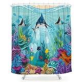 LIGHTINHOME Undersea World Shower Curtain Cartoon Blue Ocean Shark Tropical Fish Coral Starfish Sea Colorful Animal Fabric Waterproof Bathroom Home Decor Set 72x72 Inch 12 Plastic Hooks