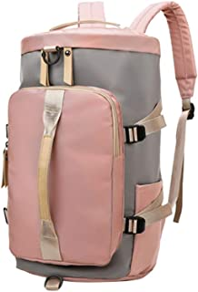 Clispeed Oxford Cloth Tote Backpack Bag Large Capacity Holdall Fitness Bag Portable Luggage Bag for Trip Business Travel (Pink and Grey)