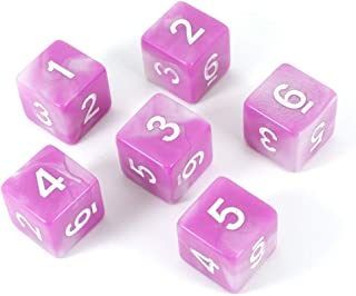 Paladin Roleplaying Pink D6 Dice - Set of Six - 'Cherry Blossom'