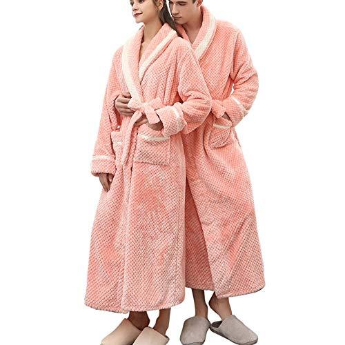 VJGOAL Albornoz Alargado para Mujer Invierno Casual Moda Color sólido Espesar Cálido Coralline Felpa Parejas Túnica Vendaje de Manga Larga Ropa de Dormir Pijamas