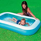 mQFIT Soft Inflatable Rectangular Baby Pool Big Bath Water Tub for Kids and Color