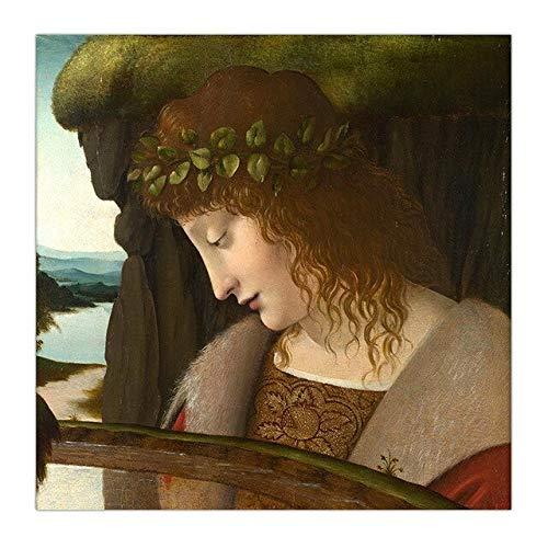 DIY Pintar por nmeros Pintura decorativa de estilo nrdico Leonardo di Ser Piero da Vinci, pintura artstica pintar por numeros paisaje Con pincel y pintura acrlica pintura40X40cm(Sin marco)