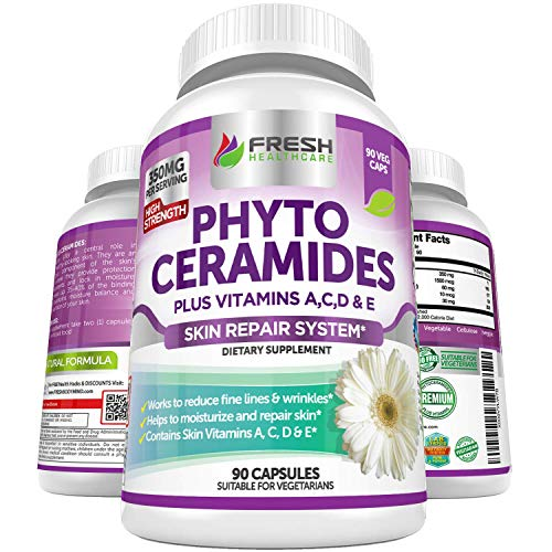 Phytoceramides - 3 Month Supply - Plus Skin Vitamins A,C,D & E for Skin Repair & Rejuvenation - Anti Aging Powerhouse for Reduced Fine Lines & Wrinkles by Fresh Healthcare