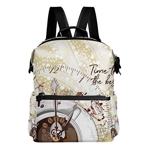 Mokale Abstrakter musikalischer Design-Hintergrund-Uhr-Kaffee,Laptop Rucksack Lederband Schultasche Outdoor Travel Casual Daypack
