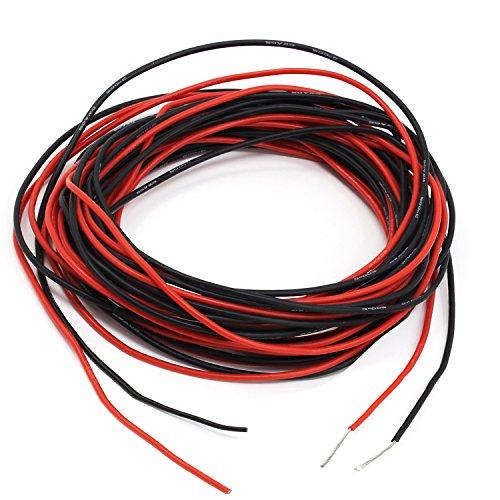 PsmGoods® 32 Füße 20 Gauge Silikon Draht Super Flexible Silikon Gummi Draht Kabel 20 AWG Silikon Draht Kabel 16 Füße Rot / 16 Füße Schwarz (20 Gauge)