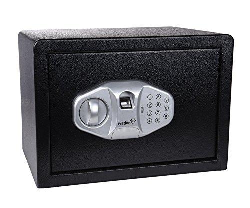 "Ivation FP15 Home Safe – 13.75"" x 10"" x 10"" Digital Safe w/Biometric Fingerprint Reader, PIN Code & Manual Key"