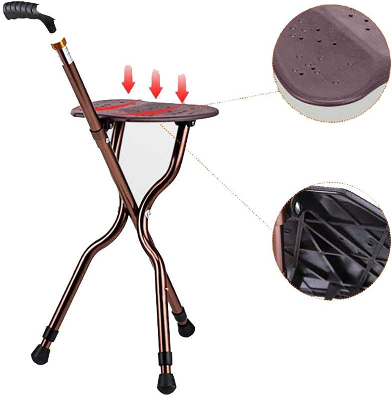 Walking Stick SEAT Medical Folding Cane Stool Walking Seat Chair Hiking Three-Legged Belt with a Stool Black Height Adjustable Switch LED