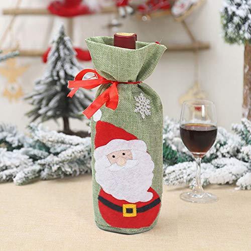 WWLIN Bolsa de Botella de Vino de Navidad Cubierta de Botella de Vino de muñeco de Nieve de Tela mullida para Bar en casa Cubiertas de Botella de Navidad