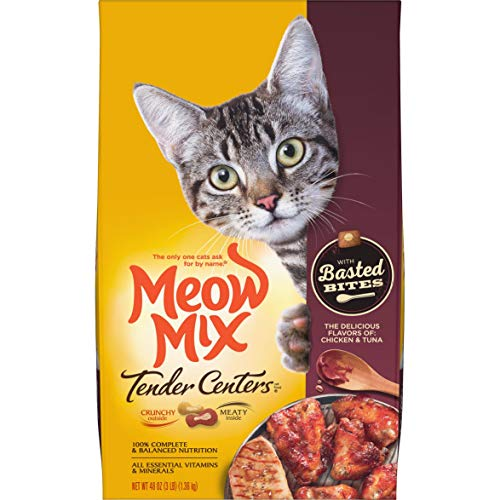 Meow Mix Tender Centers Basted Bites Dry Cat Food, Chicken & Tuna Flavor, 3 Pound Bag (Pack of 4)