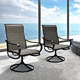 Bigroof Patio Swivel Dining Chairs Set of 2 Indoor Outdoor Furniture Textilene Padded Sling Fabric Rocker Chair with High Back and Armrest