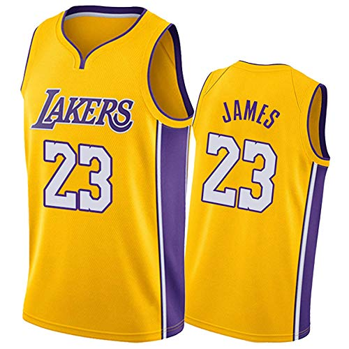 QJJ Lakers #23 LeBron James - Camiseta de baloncesto para adultos y niños, camiseta de baloncesto transpirable, color amarillo