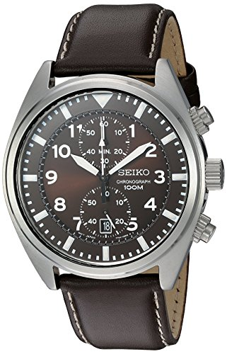 Seiko Men's SNN241 Stainless Steel Watch with Brown Leather Band