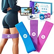 Sports Laboratory Resistance Bands Set, 3 Pack for Booty, Glute Exercises, Fitness & Workouts, Heavy, Medium, Light Level Bands, Gym Bag & Exercise Poster, Guide & 15 Video Exercises, Women & Men