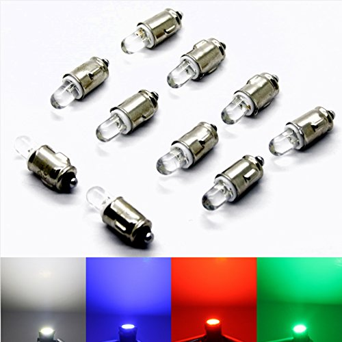 LED-Mafia Lot de 10 ampoules halogènes BA7S - 12 V - Pour compteur de vitesse - Blanc - Bleu - Rouge - Vert - Jaune