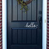 BATTOO Hello Wall Decal Farmhouse Wall Decor Hello. Door Decal Vinyl Lettering for Front Door Country Cottage Decor(9'X 4',White)
