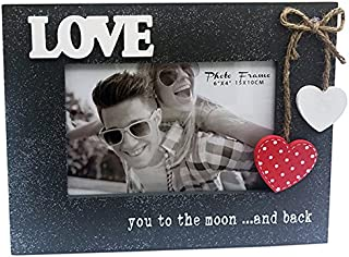 "4x6"" Wooden Photo Frame with words ""LOVE you to the moon and back"