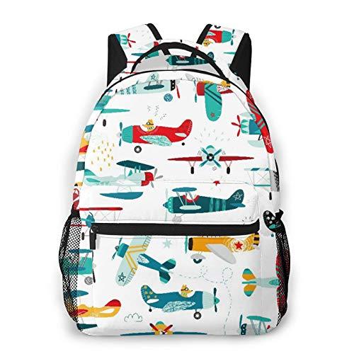 Nongmei Mochila para portátil de viaje,patrón de aviones para niños,mochila antirrobo resistente al agua para empresas,delgada y duradera