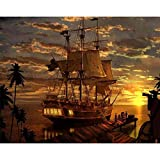 Cross Stitch Kits, Easy Patterns Cross Stitching Embroidery Kit Supplies Christmas Gifts, Stamped Or Counted,Pirate Ship 16X20 Inches