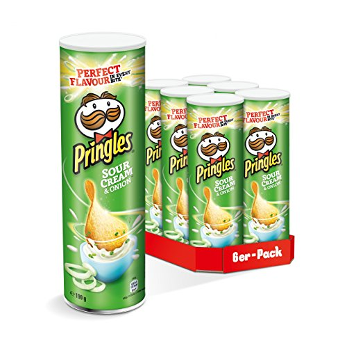 Pringles Sour Cream & Onion Chips | Sourcream Chips | 6er Party-Pack (6 x 190g)