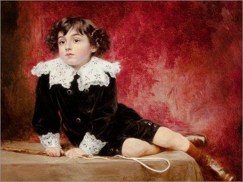 Hartschaumbild 40 x 30 cm: Porträt eines Jungen mit Einer Reitgerte von Alexis Vollon